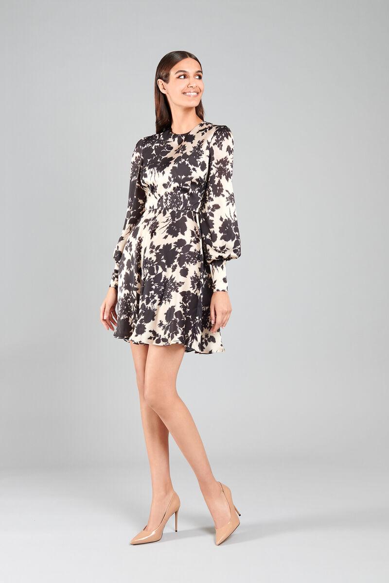 Short Satin Dress with Floral Ikat Print