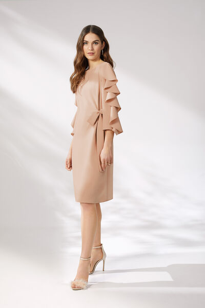 Short Belted Dress with Three-Quarter Length Sleeves - Party