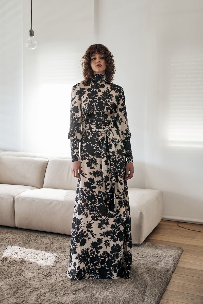 Satin Dress with Floral Ikat Print and Sleeves