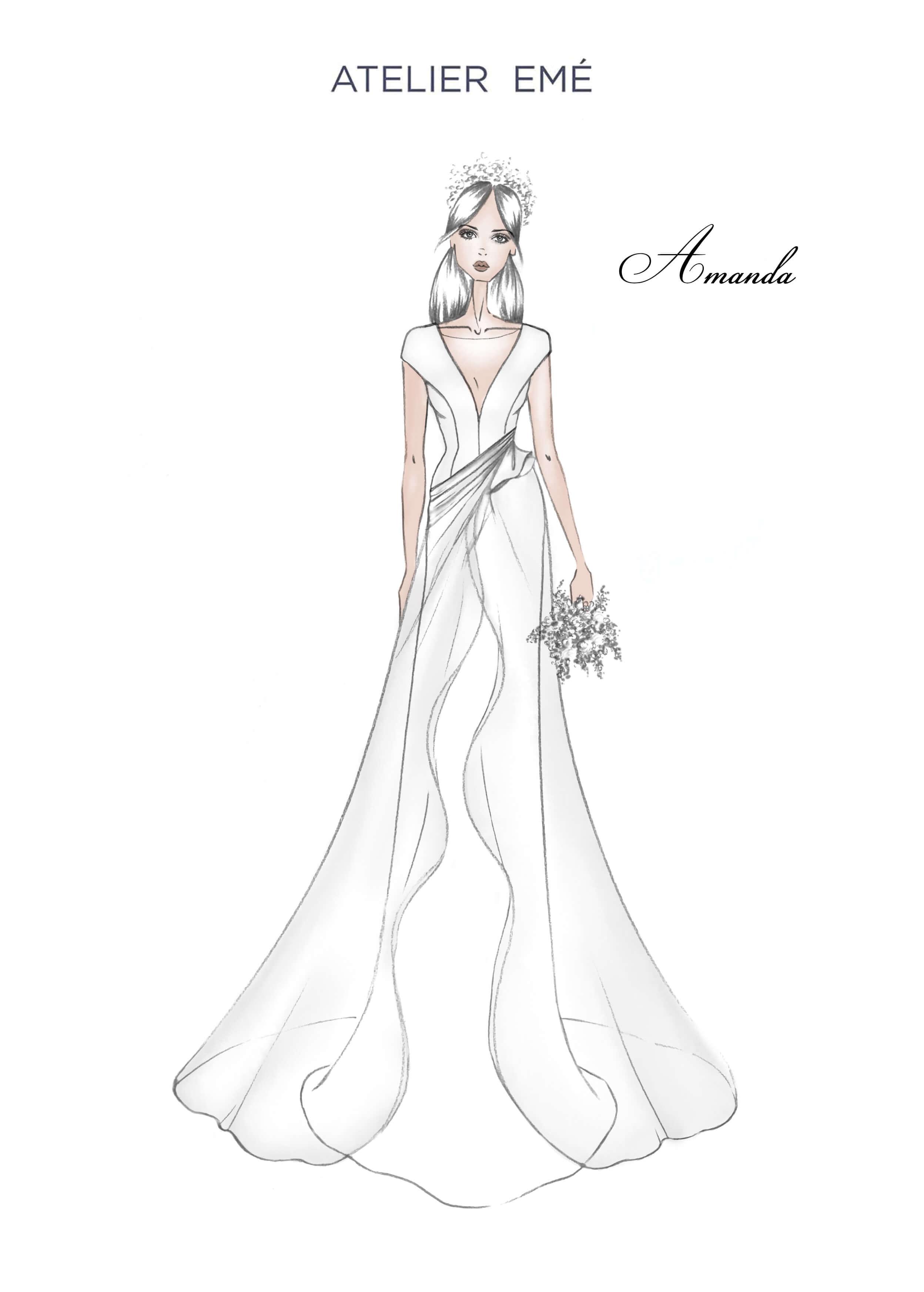 Abito da sposa Amanda - V neckline and sleeves - Collezione 2022